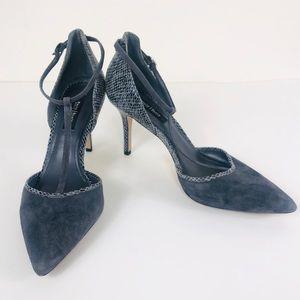 White House Black Market Grey Snake Print Heels